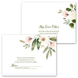 Modern Floral - Powder - Invitation with Free Response Postcard