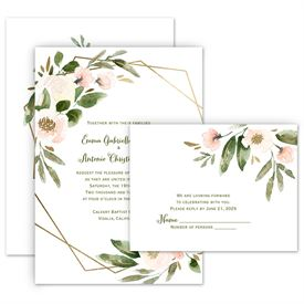 Wedding Invites Free Respond Cards: Modern Floral Powder Invitation with Free Response Postcard