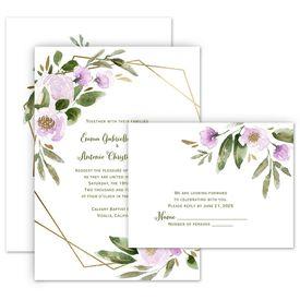 Wedding Invites Free Respond Cards: Modern Floral Wisteria Invitation with Free Response Postcard