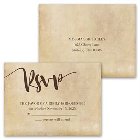 Vintage Vows - Invitation with Free Response Postcard