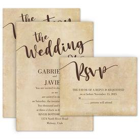 Wedding Invites Free Respond Cards: Vintage Vows Invitation with Free Response Postcard