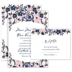 Wedding Invites Free Respond Cards: Abstract Bouquet Invitation with Free Response Postcard