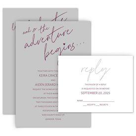 Wedding Invites Free Respond Cards: Adventure Begins Invitation with Free Response Postcard