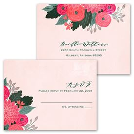 Bright Bouquet - Invitation with Free Response Postcard