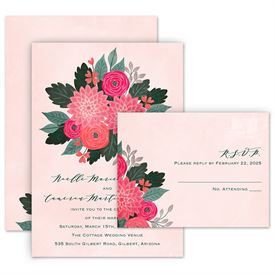 Wedding Invitations: Bright Bouquet Invitation with Free Response Postcard