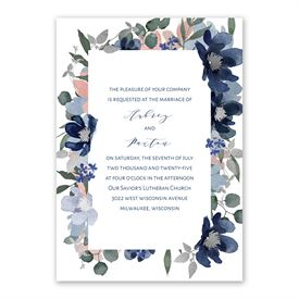 Posh Petals Navy Invitation with Free Response Postcard