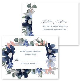 Posh Petals - Navy - Invitation with Free Response Postcard