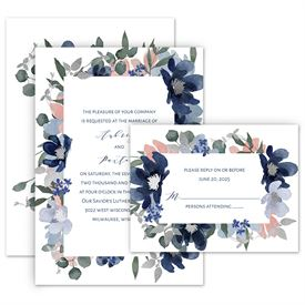 Elegant Wedding Invitations: Posh Petals Navy Invitation with Free Response Postcard