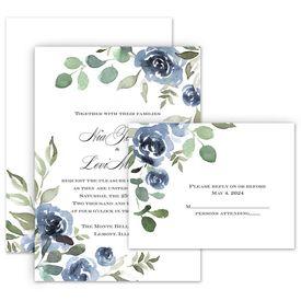 Wedding Invites Free Respond Cards: Slate Rose Invitation with Free Response Postcard