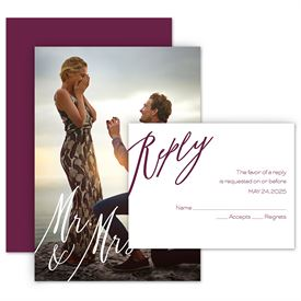 Wedding Invites Free Respond Cards: Always Mr and Mrs Invitation with Free Response Postcard
