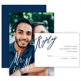 Wedding Invites Free Respond Cards: Always Mr and Mr Invitation with Free Response Postcard