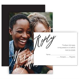 Wedding Invites Free Respond Cards: Always Mrs and Mrs Invitation with Free Response Postcard