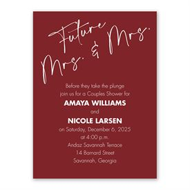 Classic Couple Mrs and Mrs Couples Shower Invitation