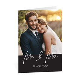 Wedding Thank You Cards: Happy Couple Mr and Mrs Thank You Card