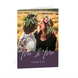 Wedding Thank You Cards: Happy Couple Mrs and Mrs Thank You Card