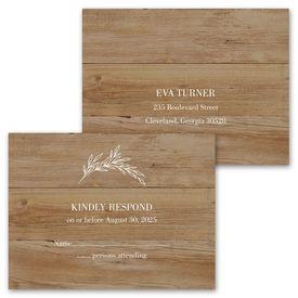 Rustic Monogram - Invitation with Free Response Postcard