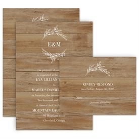 Wedding Invites Free Respond Cards: Rustic Monogram Invitation with Free Response Postcard
