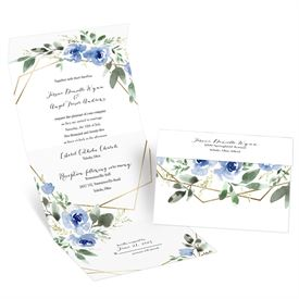 Wedding Invitations: Blooming Geo Periwinkle Seal and Send Invitation