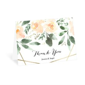 Wedding Thank You Cards: Blooming Geo Peach Thank You Card
