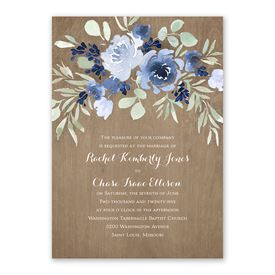 Rustic Beauty Periwinkle Invitation with Free Response Postcard