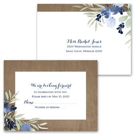 Rustic Beauty - Periwinkle - Invitation with Free Response Postcard