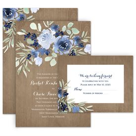 Wedding Invitations: Rustic Beauty Periwinkle Invitation with Free Response Postcard