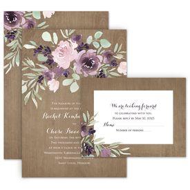 Wedding Invites Free Respond Cards: Rustic Beauty Plum Invitation with Free Response Postcard