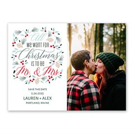 Save the Dates: Christmas Mr and Mrs Holiday Save the Date