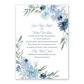Blooming Periwinkle Invitation with Free Response Postcard