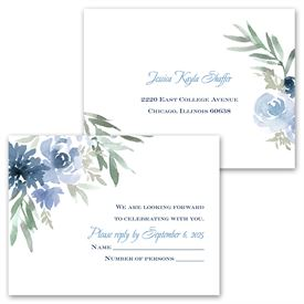Blooming - Periwinkle - Invitation with Free Response Postcard