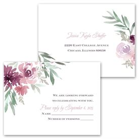 Blooming - Plum - Invitation with Free Response Postcard