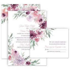 Wedding Invitations: Blooming Plum Invitation with Free Response Postcard