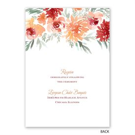 Blooming - Peach - Invitation with Free Response Postcard