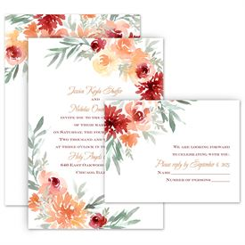 Wedding Invitations: Blooming Peach Invitation with Free Response Postcard