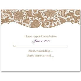 Wedding Response Cards: Lace Trim  Response Card and Envelope