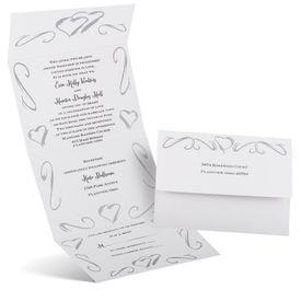 Elegant Wedding Invitations: Hearts Seal and Send Invitation
