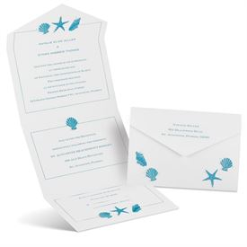 Destination Wedding Invitations: Starfish and Seashells  Seal and Send Invitation