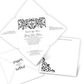 Elegant Wedding Invitations: Damask Band  Seal and Send Invitation