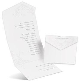 Pearl Flourish - White - Seal and Send Invitation