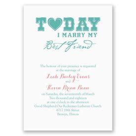 Wedding Invitations: Today I Marry Invitation