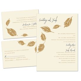 Lovely Leaves - Ecru - Separate and Send Invitation