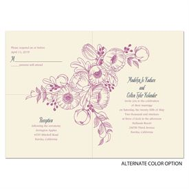 Penciled Posies - Ecru - Separate and Send Invitation