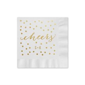 Cheers - White - Foil Cocktail Napkin
