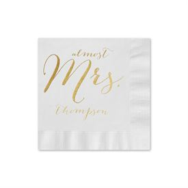 Almost Mrs. - White - Foil Cocktail Napkin