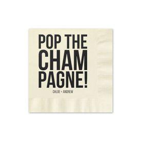 Pop the Champagne - Ecru - Foil Cocktail Napkin