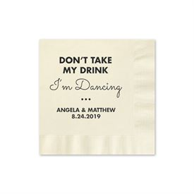 Busy Dancing - Ecru - Foil Cocktail Napkin