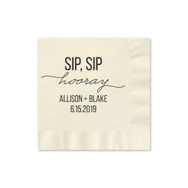 Sip, Sip Hooray - Ecru - Foil Cocktail Napkin