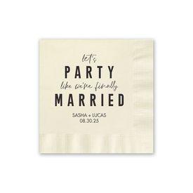 Party Time - Ecru - Foil Cocktail Napkin