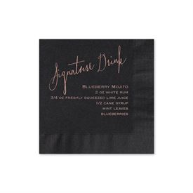 Signature Drink - Black - Foil Cocktail Napkin