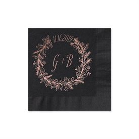 Wreath Frame - Black - Foil Cocktail Napkin